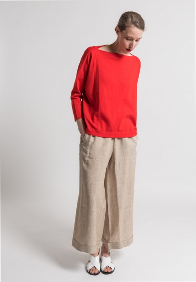 Daniela Gregis Cotton Boatneck Sweater in Red