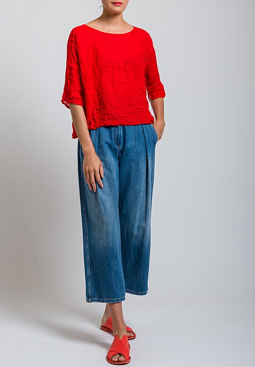 Daniela Gregis Washed Linen Arnica Top in Red