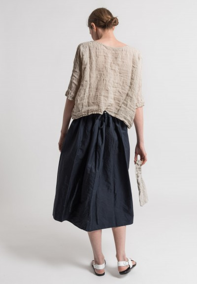 Daniela Gregis Washed Cotton Skirt in Navy Blue