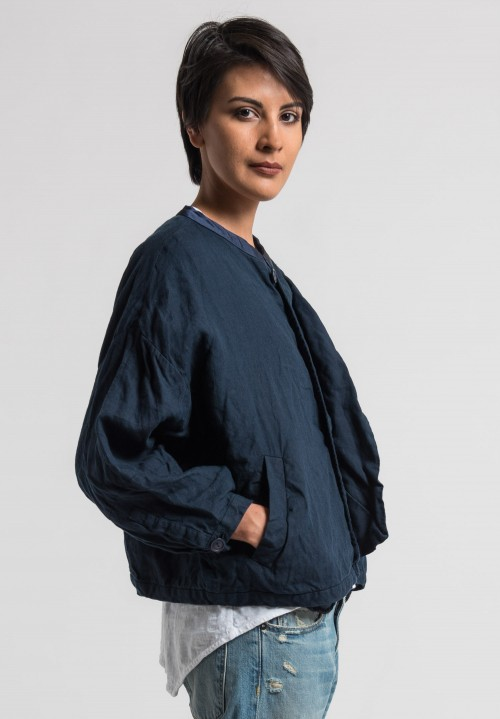 Umit Unal Linen Dolman Sleeve Jacket in Dark Navy