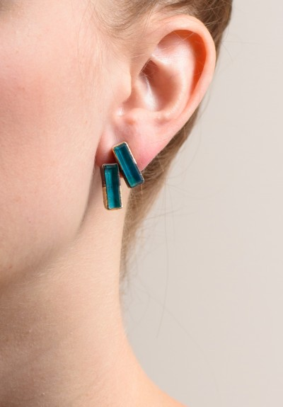 Maria Frantzi 18K Gold, Silver, Chrysocolla Doublets