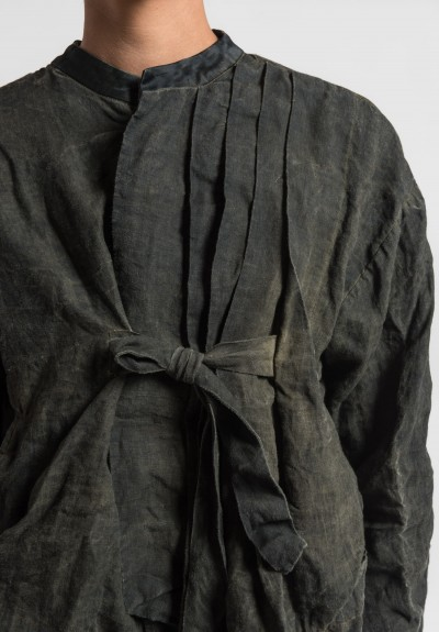 Umit Unal Linen Pleat and Tie Front Jacket in Green