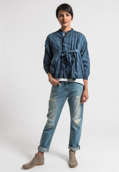 Umit Unal Linen Pleat and Tie Front Jacket in Indigo