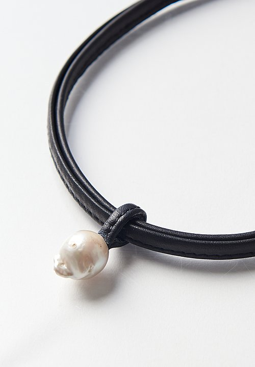 Monies Single Drop Baroque Pearl Leather Necklace