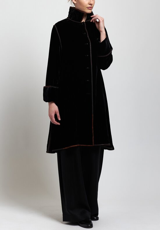 Sophie Hong Long Velvet Jacket in Black