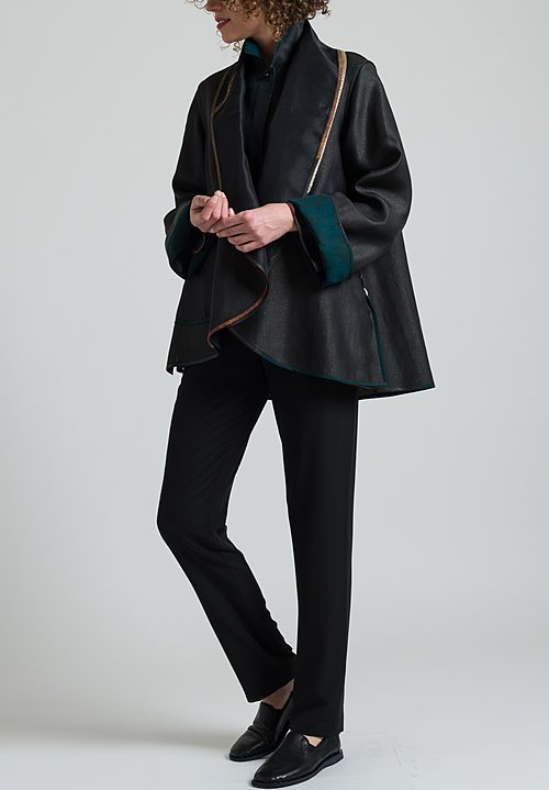 Sophie Hong Silk Shawl Collar Jacket in Black/Green