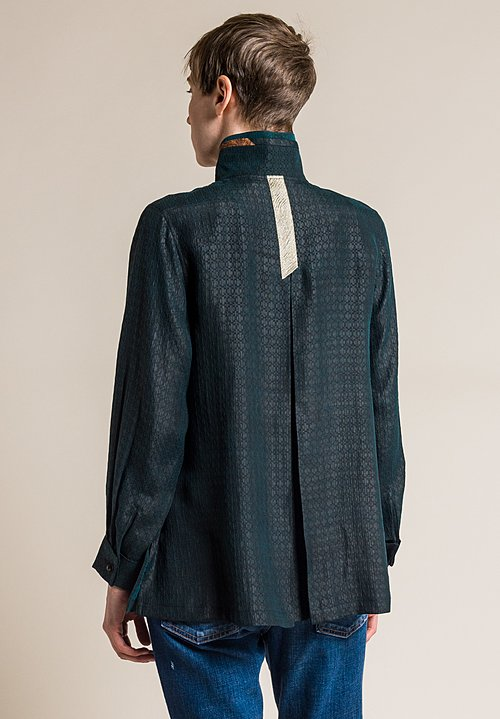 Sophie Hong Hand Dyed Silk Relaxed Jacket in Dark Teal