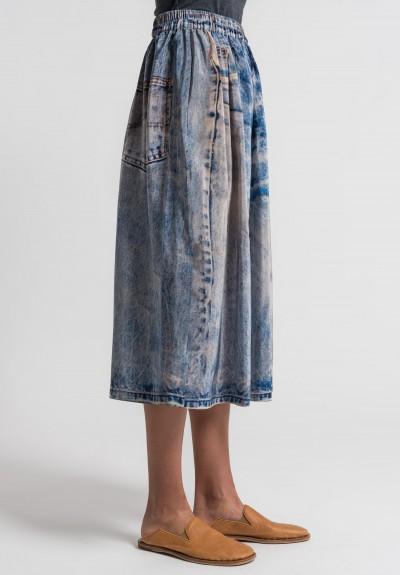 ... Anntian Silk Faux Jeans Print Skirt in Blue ...