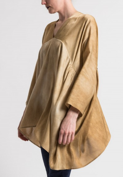 Uma Wang Silk Taci Top in Tan