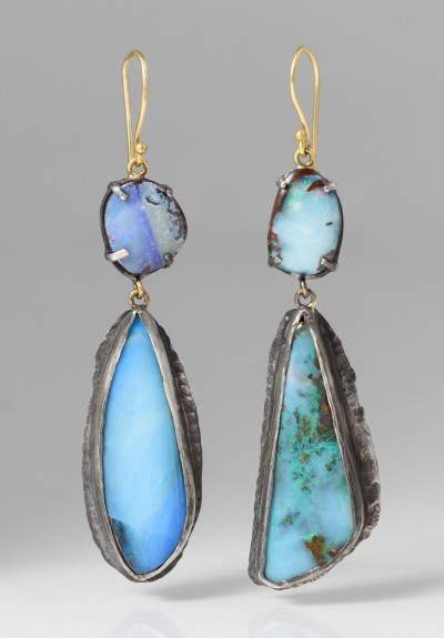 Margery Hirschey Silver, 22K, & Boulder Opal Earrings