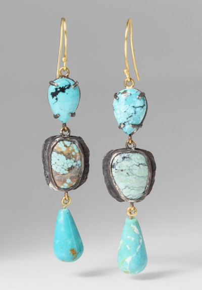 Margery Hirschey Silver, 22k & Turquoise Earrings