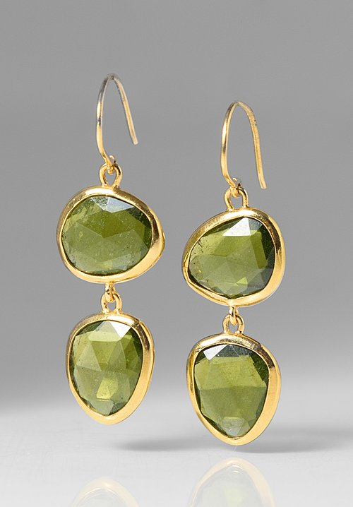 Greig Porter Double Peridot Drop Earrings