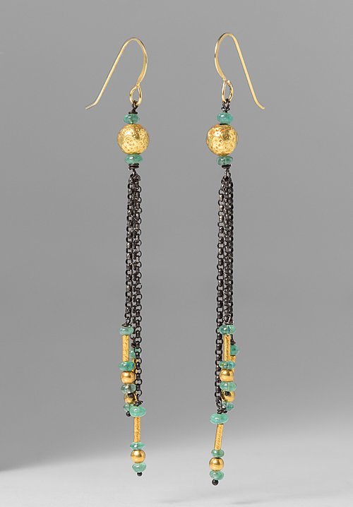 Greig Porter Emerald & 18K Gold Dangle Earrings