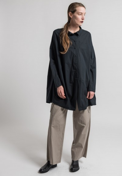Rundholz Cotton Oversize Cocoon Shirt in Black