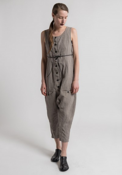 Rundholz Linen Drop Crotch Jumpsuit in Desert