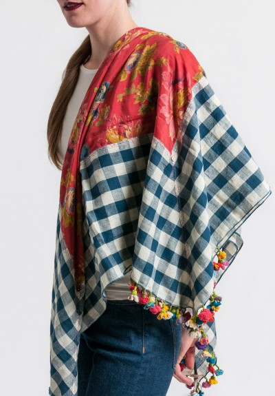 Péro Cotton/Silk Adornment Rumal Scarf in Blue Gingham/Red Floral