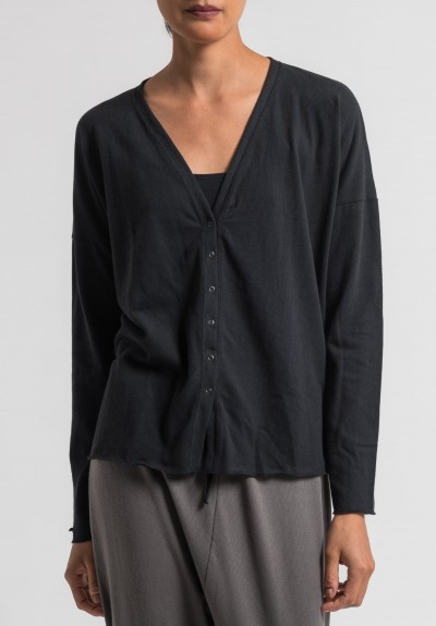 Album Di Famiglia Cotton Slim Cardigan in Black