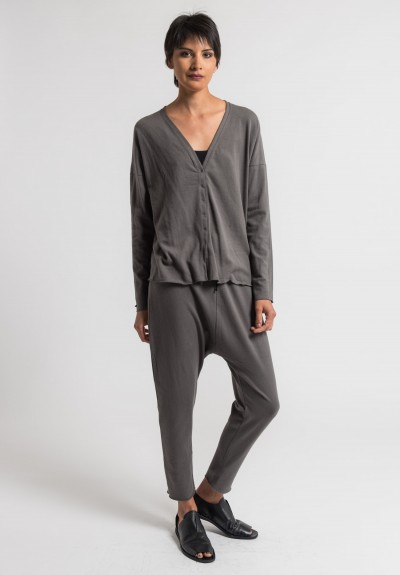 Album Di Famiglia Cotton Slim Cardigan in Anthracite