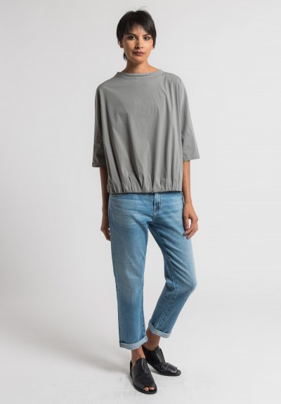 Album di Famiglia Stretch Cotton Band Collar Top in Grey