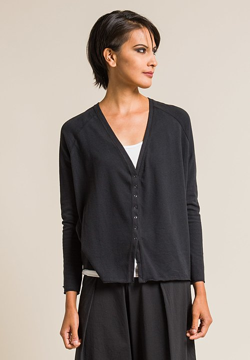 Album Di Famiglia Cotton Raglan Sleeve Cardigan in Black