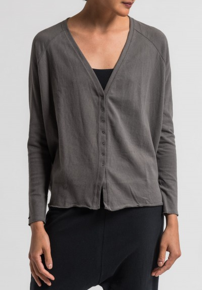 Album Di Famiglia Cotton Raglan Sleeve Cardigan in Anthracite