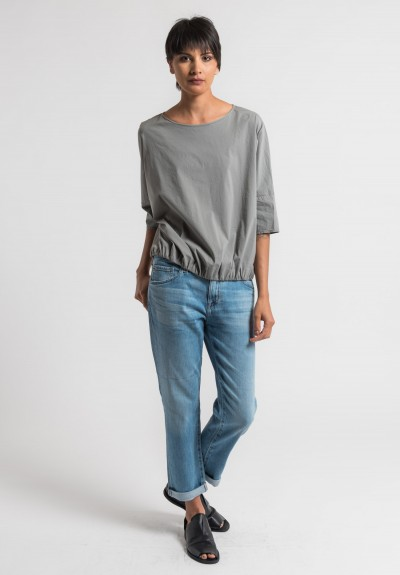Album di Famiglia Stretch Cotton Top in Grey