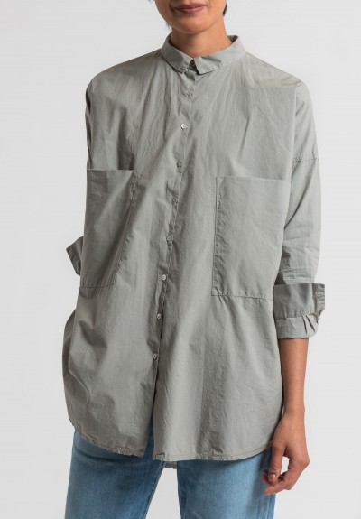 Album di Famiglia Cotton Oversized Shirt in Grey