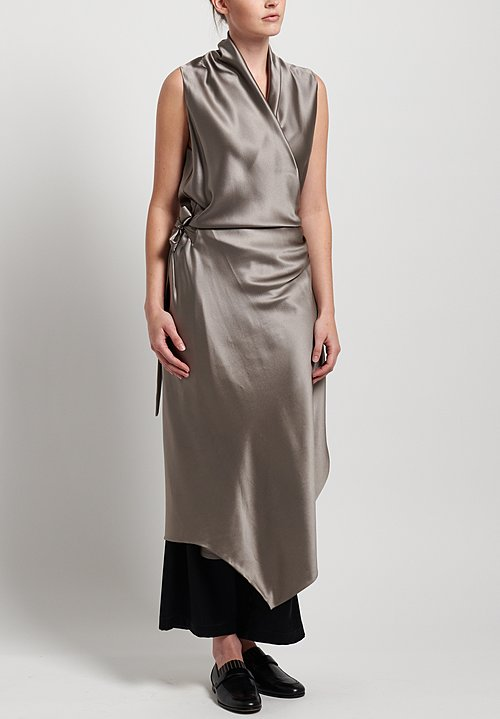 Peter Cohen 2-Layer Silk Victor Dress in Pewter