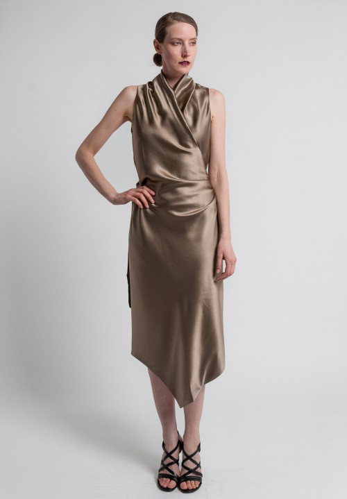 Peter Cohen 2-Layer Silk Victor Dress in Khaki