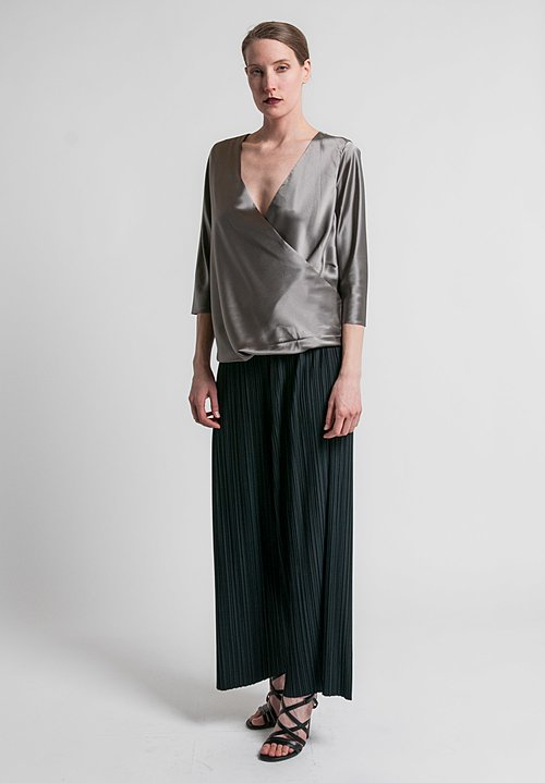 Peter Cohen 2-Layer Satin Drape Front Top in Pewter