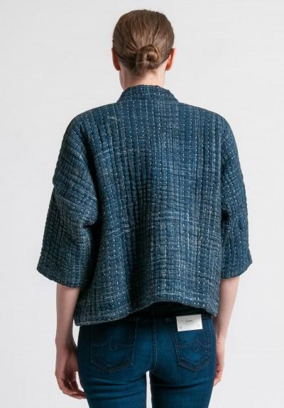 Raga Designs Cotton Kantha Bonita Jacket in Indigo   Santa ...