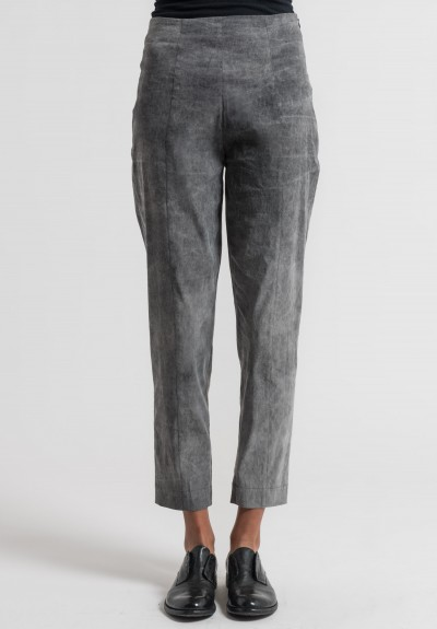 Peter O. Mahler Cold Dyed Fitted Stretch Linen Pants in Grey