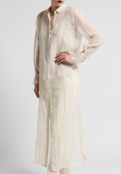 Brunello Cucinelli Silk Long Blouse in Cream