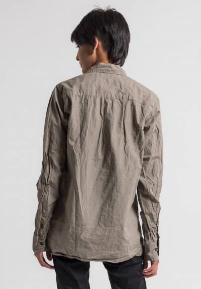 Rundholz Dip Long Cotton Shirt in Desert Crisp