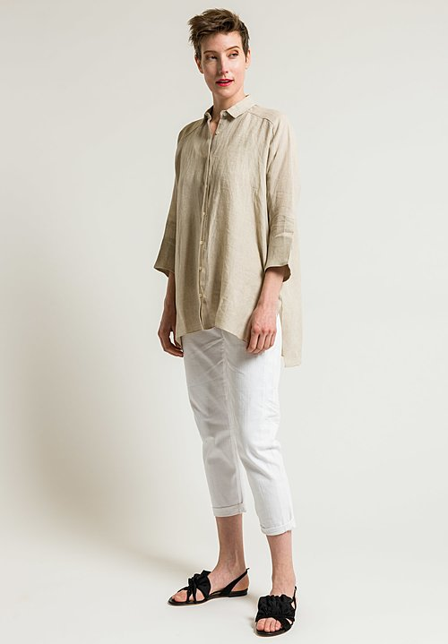 Shi Cashmere Long Linen Shirt in Natural