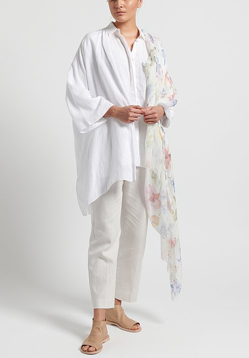 Shi Cashmere Long Linen Shirt in White