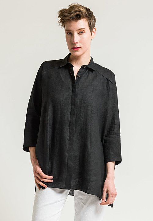 Shi Cashmere Long Linen Shirt in Black
