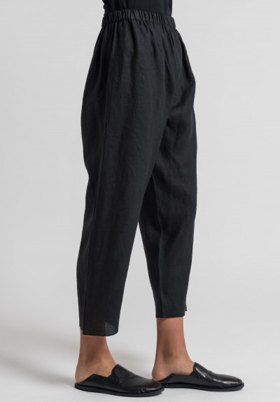 Shi Linen Cropped Pants in Black