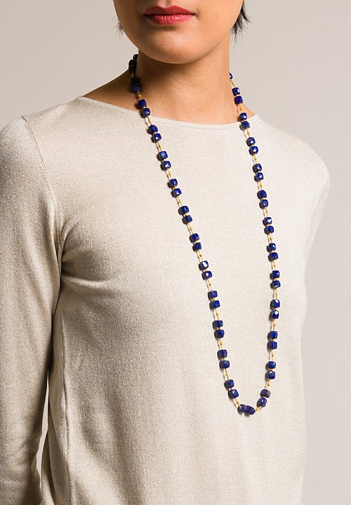 Greig Porter 18K Gold and Lapis Square Beads Necklace