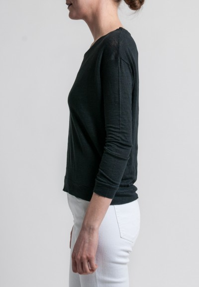 Majestic Linen Long Sleeve Scoop Neck Top in Noir