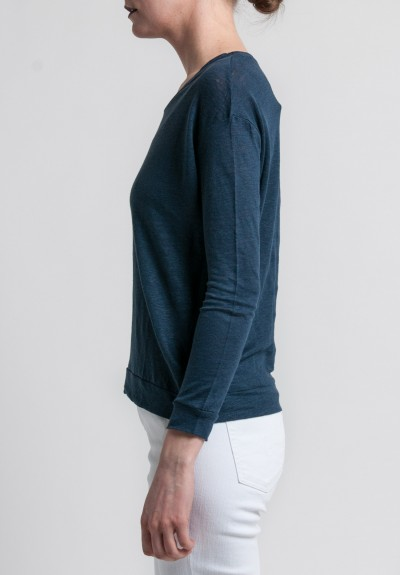 Majestic Linen Long Sleeve Scoop Neck Top in Marine