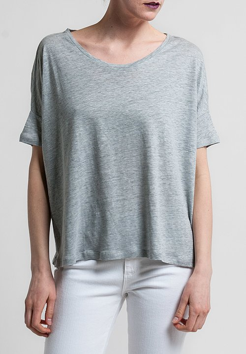 Majestic Linen/Silk Short Sleeve Swing Tee in Gris