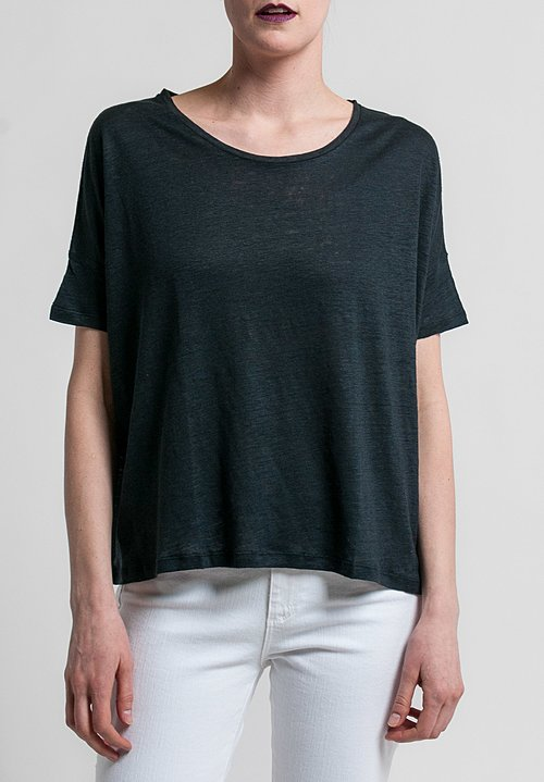 Majestic Linen/Silk Short Sleeve Swing Tee in Noir
