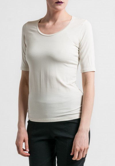 Majestic Scoop Neck Elbow Length Sleeve Tee in Cream