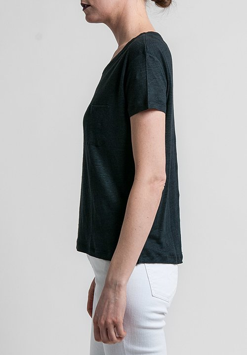 Majestic Linen/Silk Relaxed Round Neck Tee in Noir