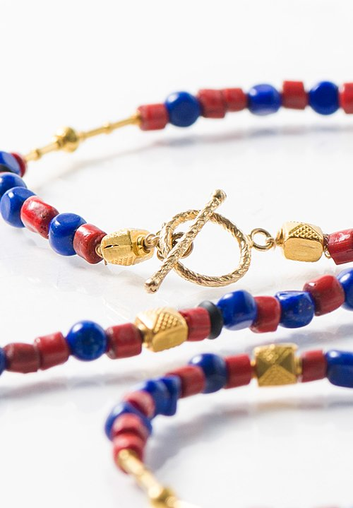 Greig Porter 18K, Lapis, Tibetan Clay Beads Necklace