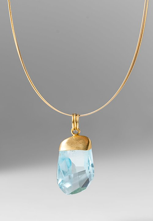 Margoni 18k & Aqua Crystal Cable Necklace