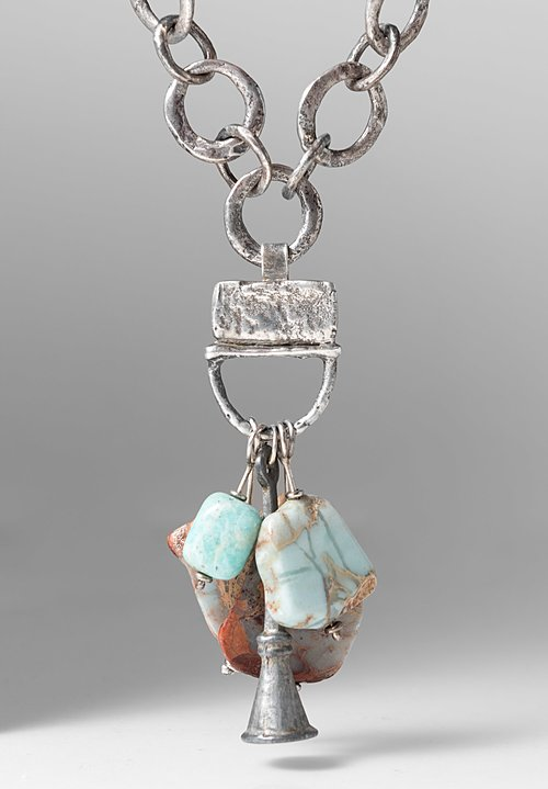 Holly Masterson Snakeskin Jasper, Metal, & Opal Adornment