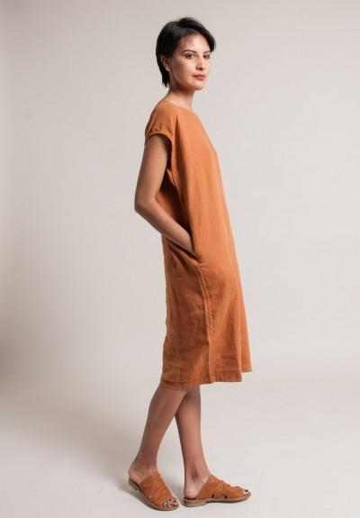 3ea28a0229 ... Black Crane Linen Back Slit Dress in Rust ...