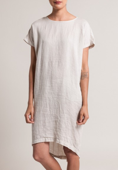 Black Crane Linen Pleated Cocoon Dress in Oatmeal